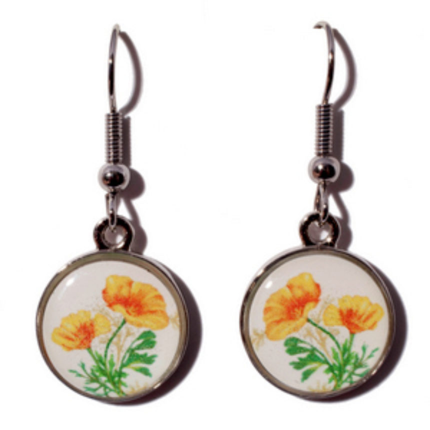 California Poppy Earring